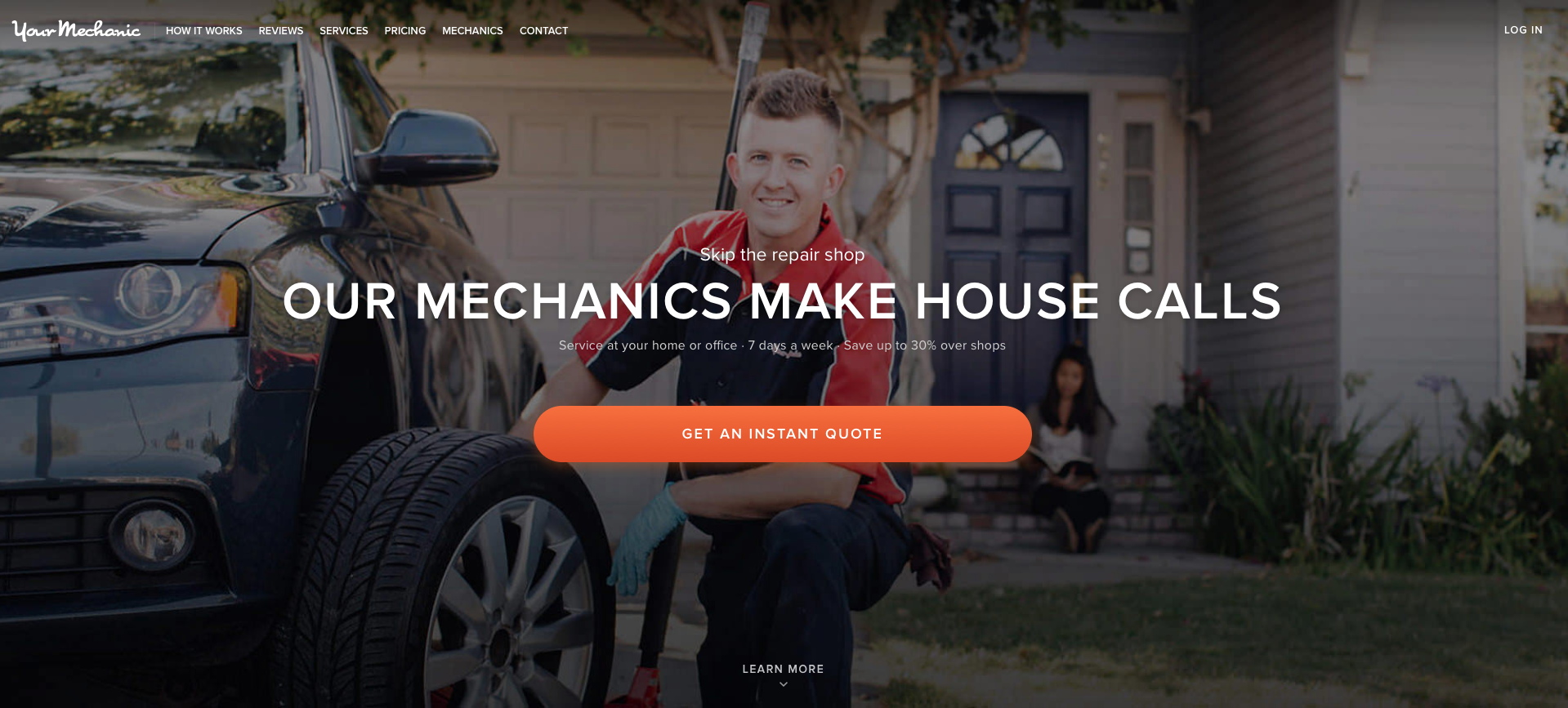 YourMechanic Services Inc. Website Homepage