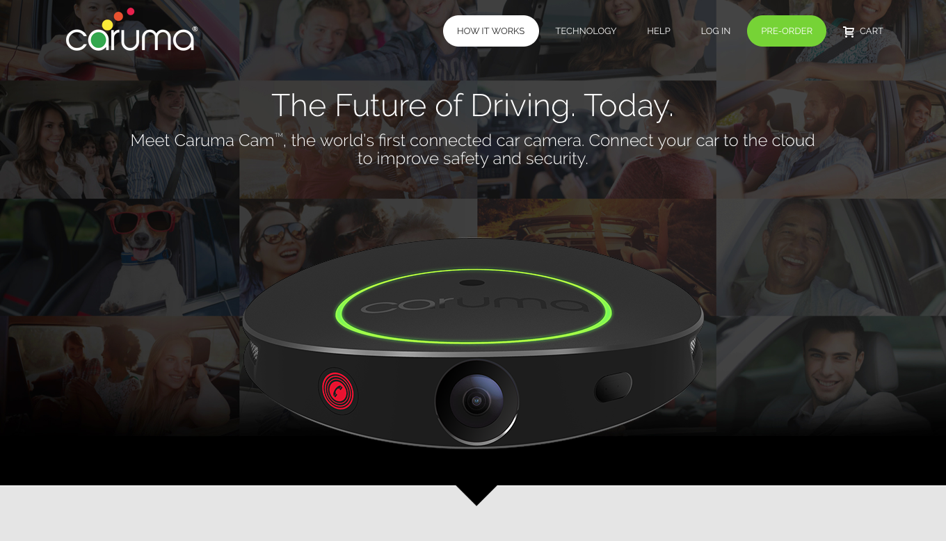 Caruma - The Future of Driving. Today. Website Screen Shot