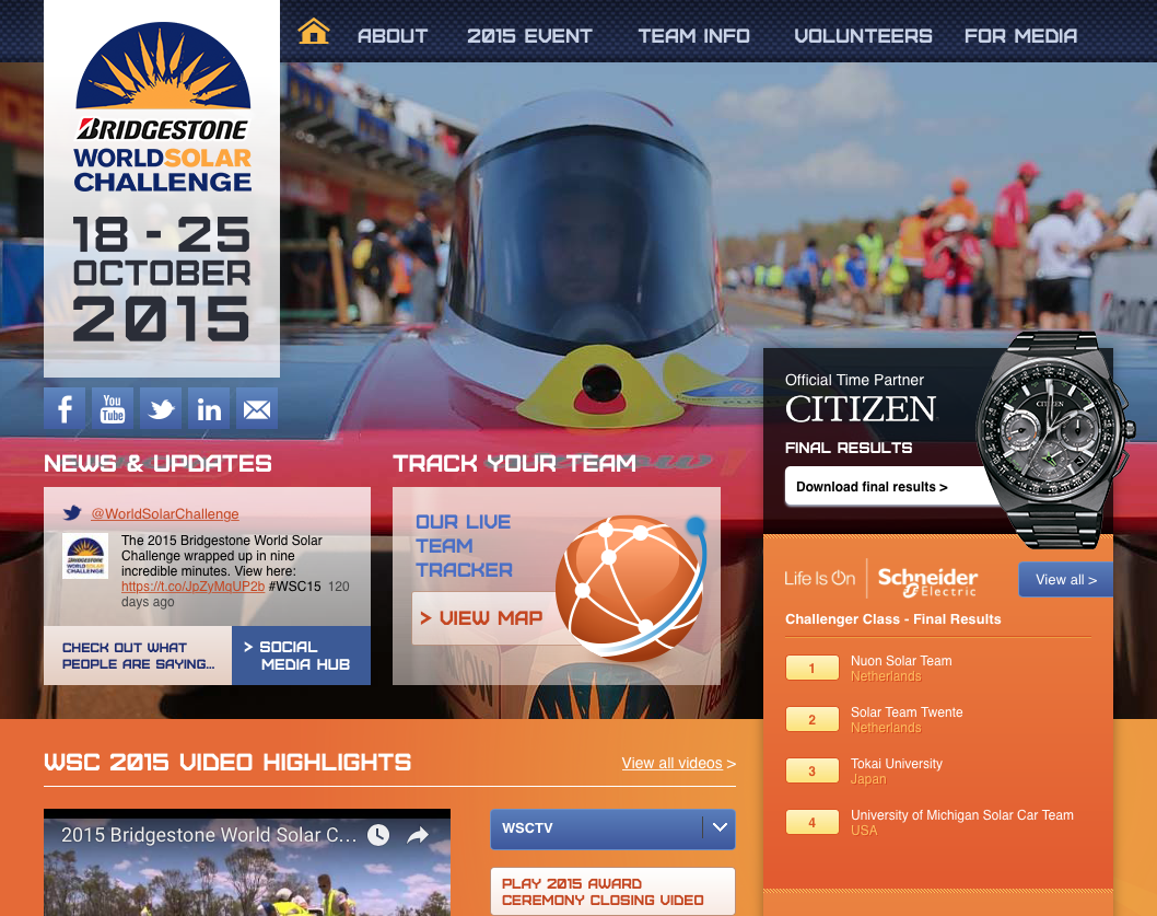 2015 Bridgestone World Solar Challenge Website Screen Shot