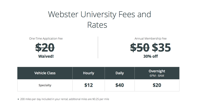 Webster University Fees and Rates from Enterprise CarShare
